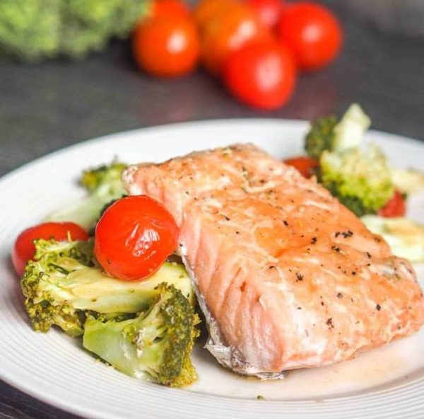 Oven Poached Salmon with Cherry Tomatoes and Broccoli