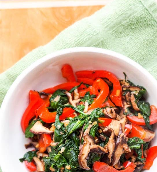 Shiitake Stir Fry with Peppers and Spinach