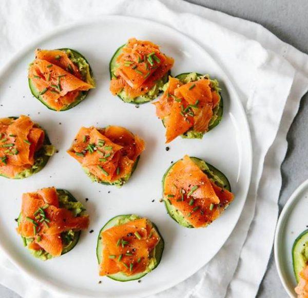Smoked Salmon and Avocado Cucumber Bites