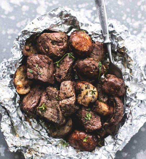 Buttery Garlic Steak and Mushroom Foil Pack